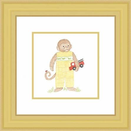Monkey With Firetruck Framed Lithograph