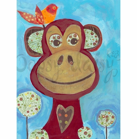 Monkey with Orange Bird Canvas Wall Art