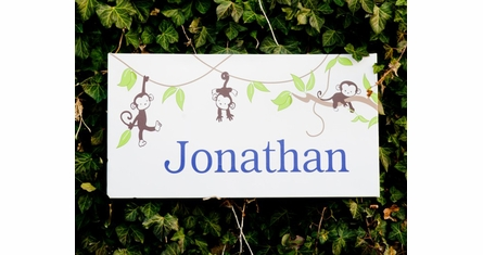 Monkeying Around Boy Canvas Wall Art