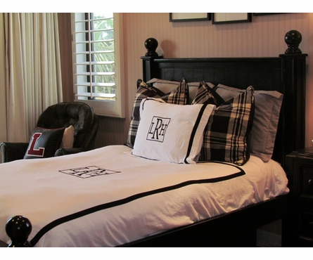 Monogrammed Border Duvet Cover and Shams