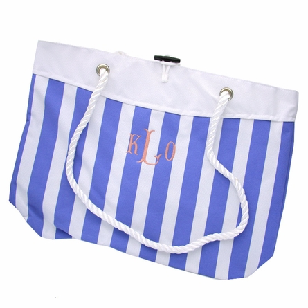 Monogrammed Nautical Stripe Tote