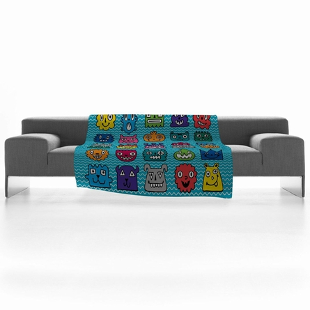 Monster Mash Blue Fleece Throw Blanket