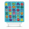 Monster Mash Blue Shower Curtain