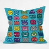 Monster Mash Blue Throw Pillow