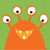 Monster Mugs in Orange Canvas Wall Art