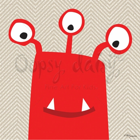 Monster Mugs in Red Canvas Wall Art