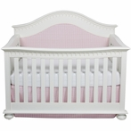 Montauk Crib in Antico White with Cheston Pink and White Fabric
