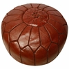 Moroccan Pouf - Chocolate Brown Leather