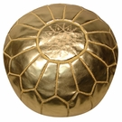 Moroccan Pouf - Gold Leather