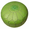 Moroccan Pouf - Lime Green Leather