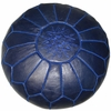 Moroccan Pouf - Navy Blue Leather