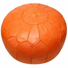 Moroccan Pouf - Orange Leather