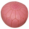 Moroccan Pouf - Pink Leather