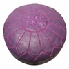 Moroccan Pouf - Purple Leather