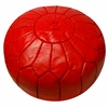 Moroccan Pouf - Red Leather