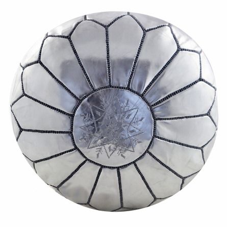 Moroccan Pouf - Silver Leather