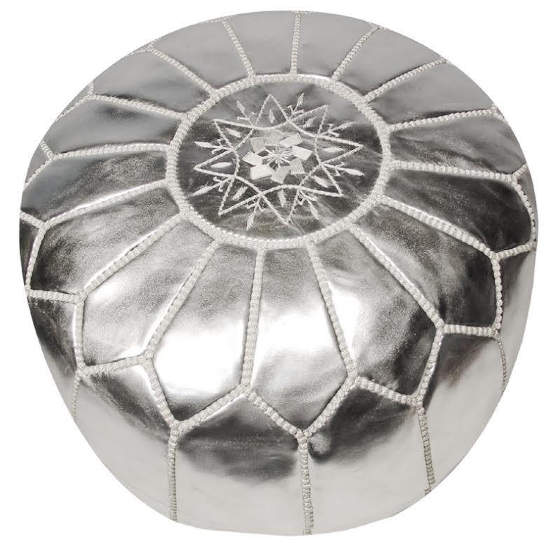 Moroccan Pouf Silver Leather Rosenberryrooms Com