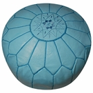 Moroccan Pouf - Sky Blue Leather