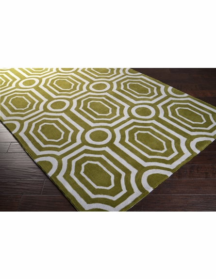 Moss and White Geometric Hudson Park Rug