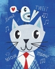 Mr. Cat Blue Art Print