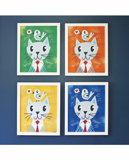 Mr. Cat Green Framed Canvas Wall Art