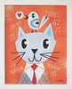 Mr. Cat Orange Framed Canvas Wall Art