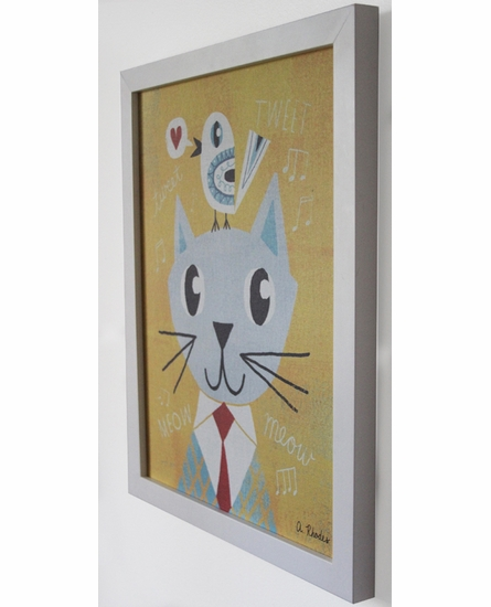 Mr. Cat Yellow Framed Canvas Wall Art