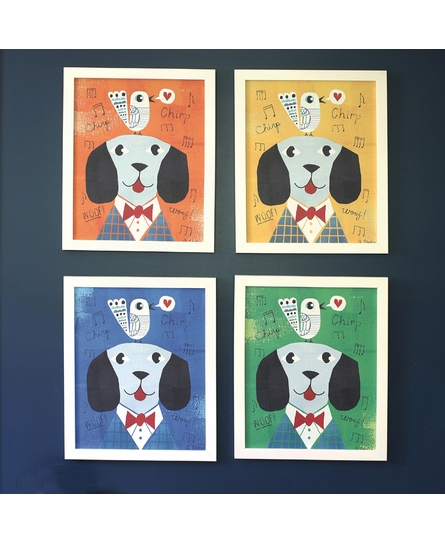 Mr. Dog Blue Framed Canvas Wall Art