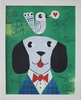 Mr. Dog Green Framed Canvas Wall Art