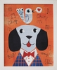 Mr. Dog Orange Framed Canvas Wall Art