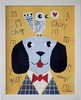 Mr. Dog Yellow Framed Canvas Wall Art