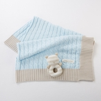 My Sweet Baby Classic Cable Knit Blanket in Blue