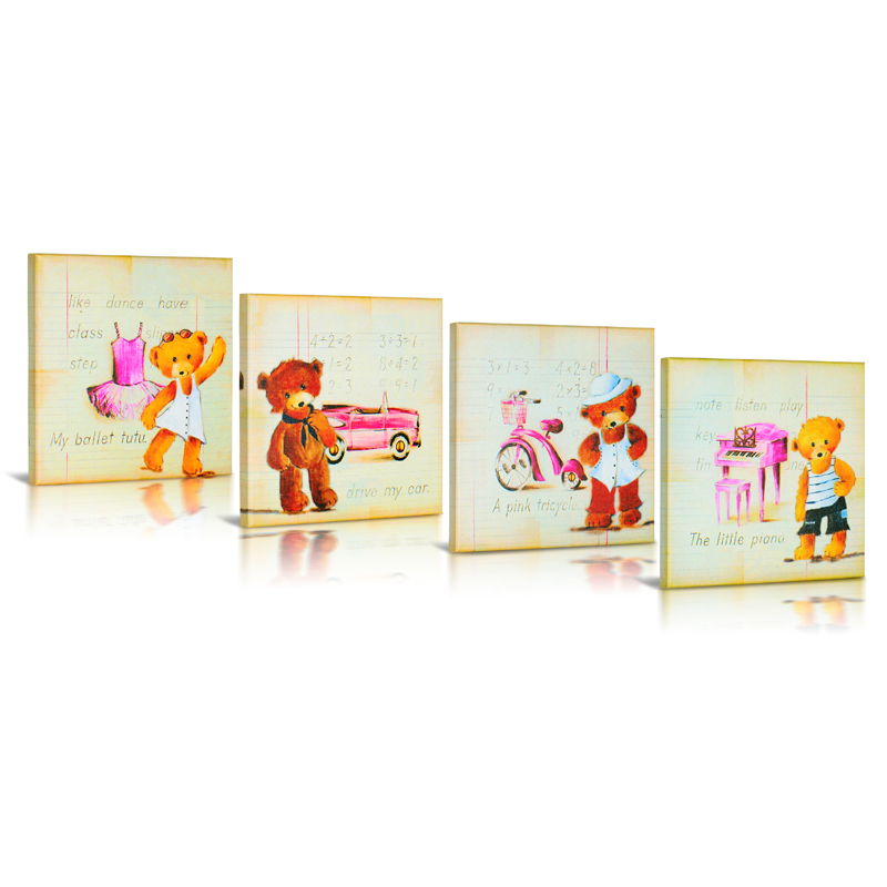 My Teddy Bear Canvas Wall Art Set Of 4 By Green Frog Baby