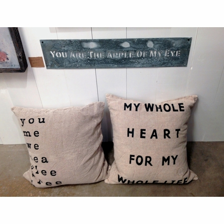 My Whole Heart Burlap Pillow