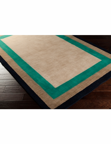 Mystique Multi Border Rug in Olive and Emerald