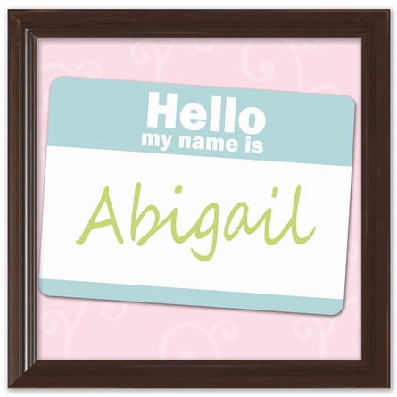 Name Tag in Pink Canvas Reproduction