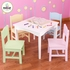 Nantucket Table & 4 Pastel Chair Set in White