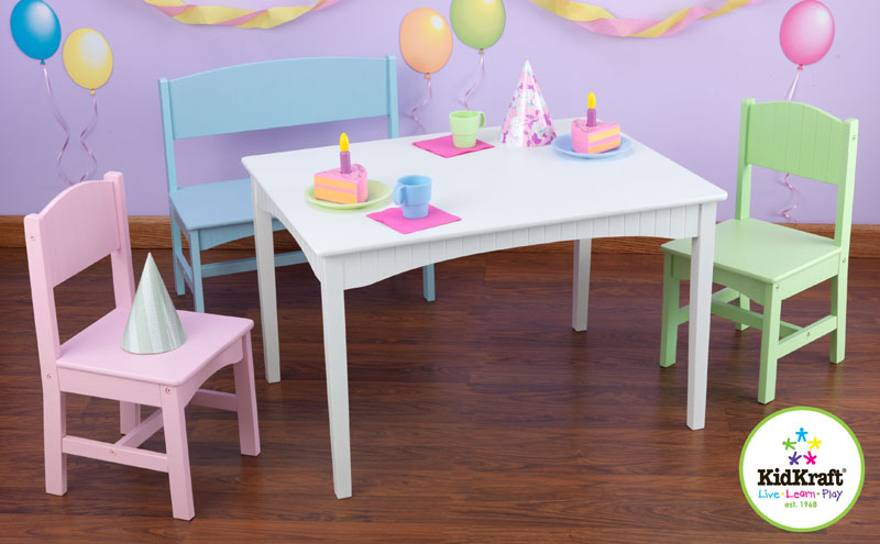 Nantucket Table With Bench Two Chair Set Pastel By KidKraft