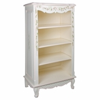 Narrow French Bookcase in Linen with Ribbons and Roses Motif