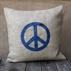 Natural Burlap Pillow With Navy Peace Sign