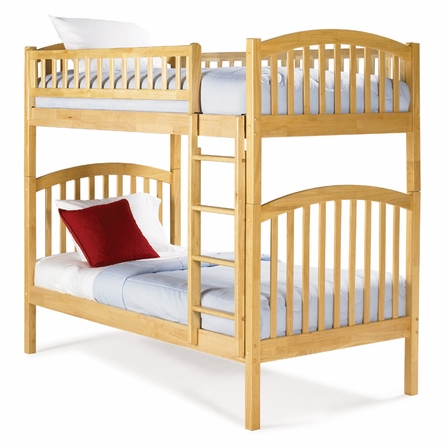 Natural Maple Modern Curved Slatted Bunk Bed