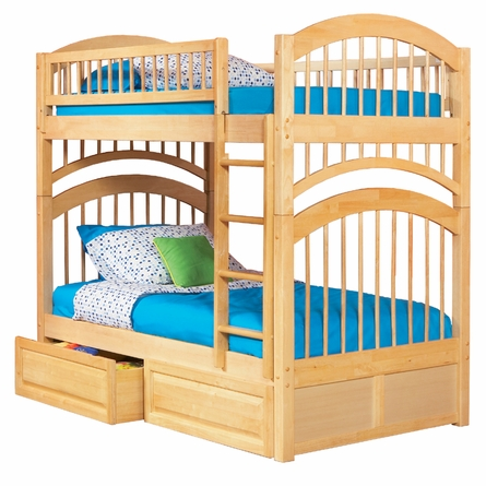 Natural Maple Traditional Curved Slatted Bunk Bed