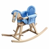 Natural Rocking Horse with Blue Accents