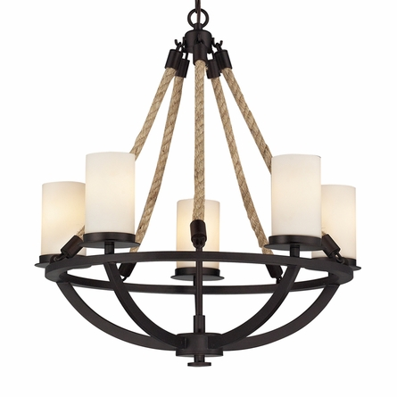 Natural Rope Chandelier In Aged Bronze
