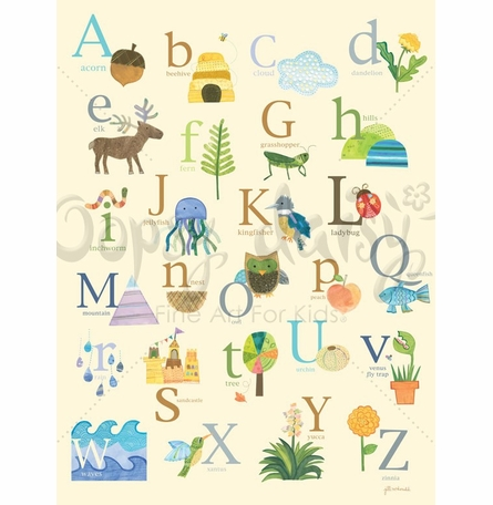 Nature's Alphabet Canvas Wall Art