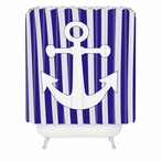 Navy Anchor Shower Curtain