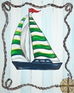 Navy and Green Sailboat Framed Art