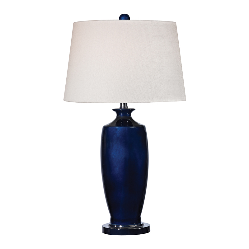 Navy Blue Ceramic Table Lamp With White Shade