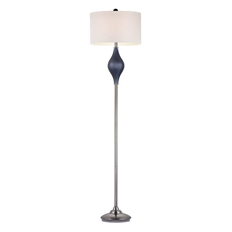 Navy Blue Glass Floor Lamp With White Shade