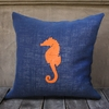 Navy Burlap Pillow With Orange Seahorse